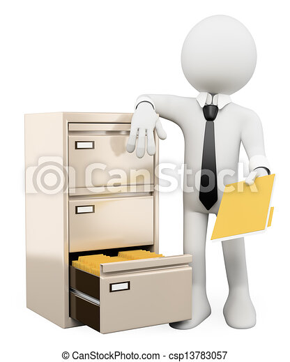 Stock Illustrations Of 3d White People File Cabinet 3d