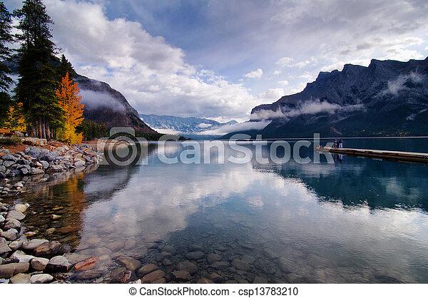 autunno,  Minnewanka, lago - csp13783210
