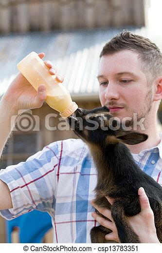Man Bottle Feeds Goat - csp13783351