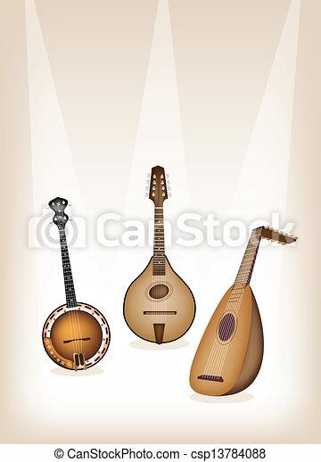 Antique Musical Instrument Strings  - csp13784088