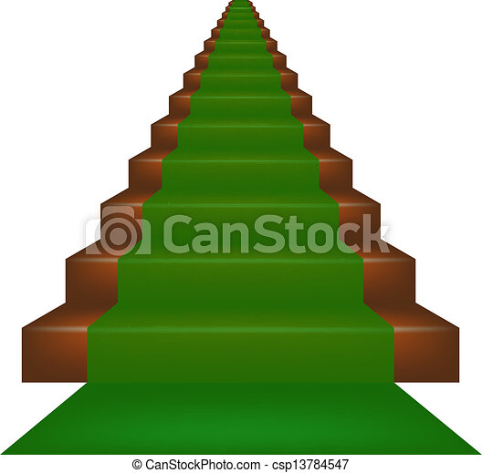 Eps Vector Of Stairs Covered With Green Carpet On White