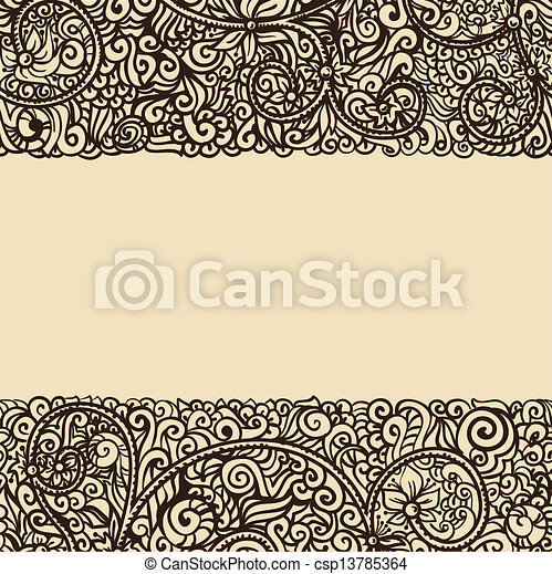floral retro ink drawing card template - csp13785364