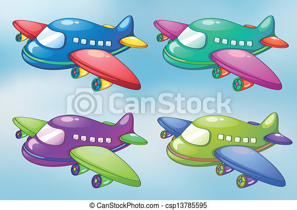Four toy planes in the sky   - csp13785595