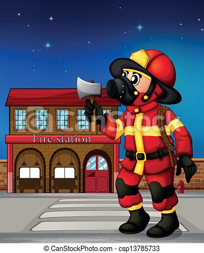 Vectores de Un, bombero, tenencia, Hacha, exterior, fuego ...