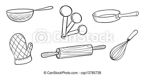 Baking Equipment Drawing Baking Tools Csp13785738