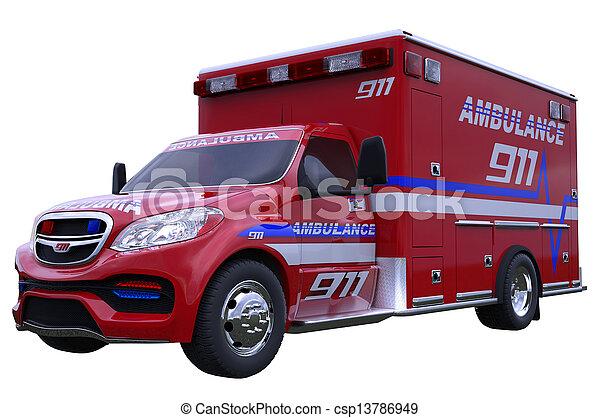 Emergency: ambulance vehicle isolated on white - csp13786949