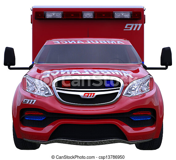 Emergency call: ambulance car isolated on white - csp13786950