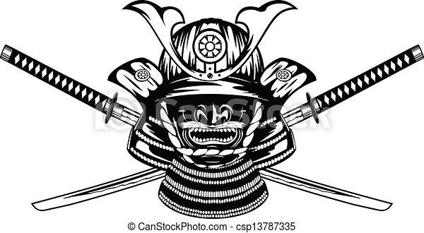 vecteurs de samoura katanas travers casque samurai casque csp13787335 recherchez. Black Bedroom Furniture Sets. Home Design Ideas
