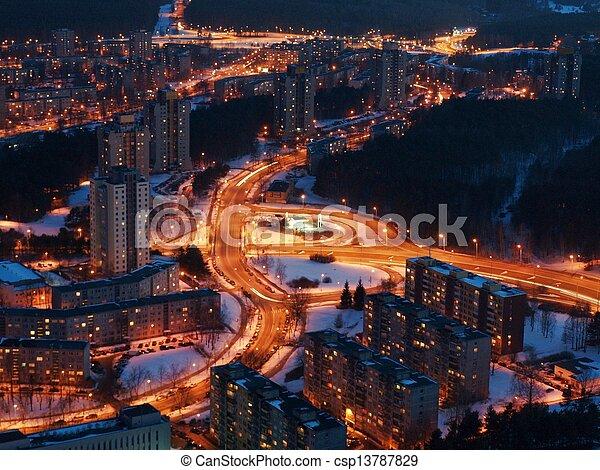 Vilnius city night aerial view - csp13787829
