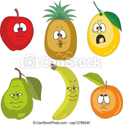 EPS vector de emoción, caricatura, frutas, Conjunto, 001 - vector ...