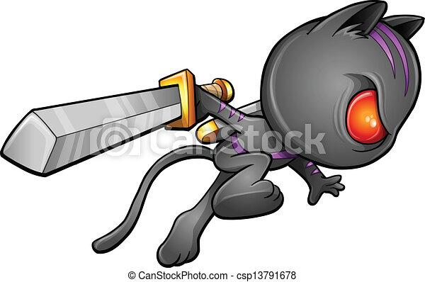vectors illustration of cute kitten warrior ninja vector