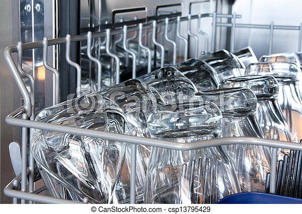Details of a dishwasher  - csp13795429
