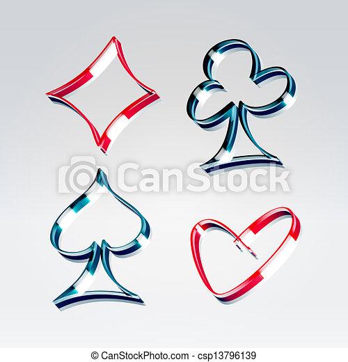 Playing gambling cards symbols - csp13796139