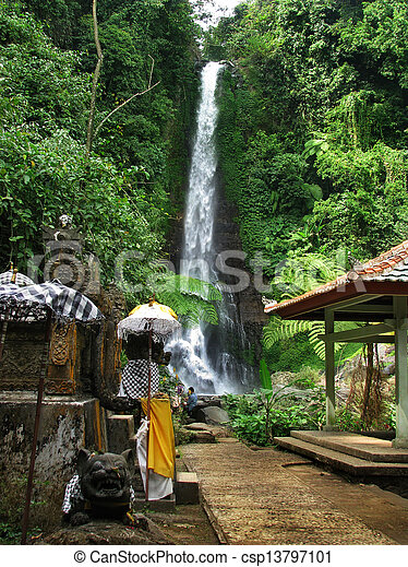 Bali: impressive Gitgit waterfalls, surrounded by beautiful wild nature. Near Lovina, north Bali (Indonesia) - csp13797101