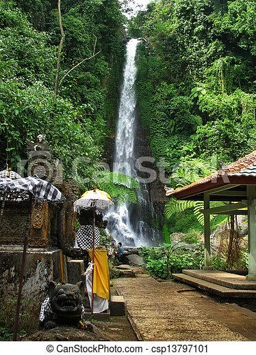 Bali: impressive Gitgit waterfalls, surrounded by beautiful wild nature. Near Lovina, north Bali (Indonesia) - csp13797101