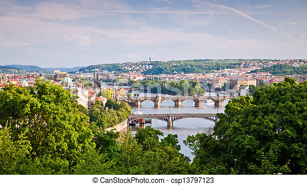 Prague Bridges Across Vltava River - csp13797123