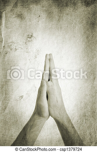 religion concept, made from my images, focus point on hands