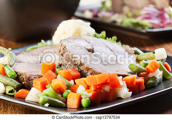 Pork roast with vegetable. Selective focus. - csp13797534