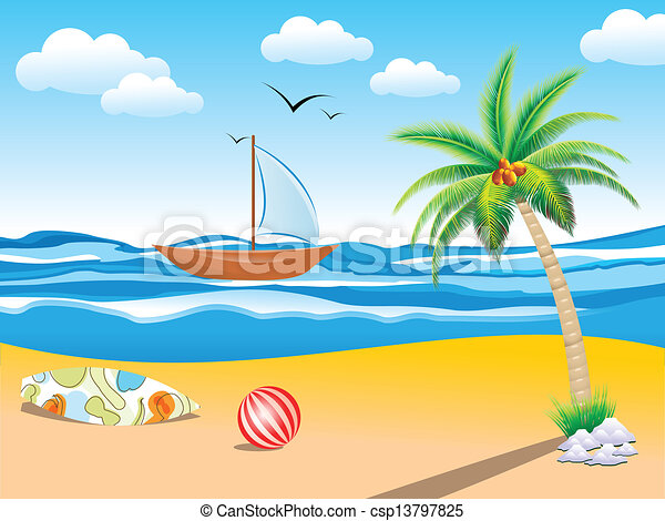 abstract summer holiday background  - csp13797825