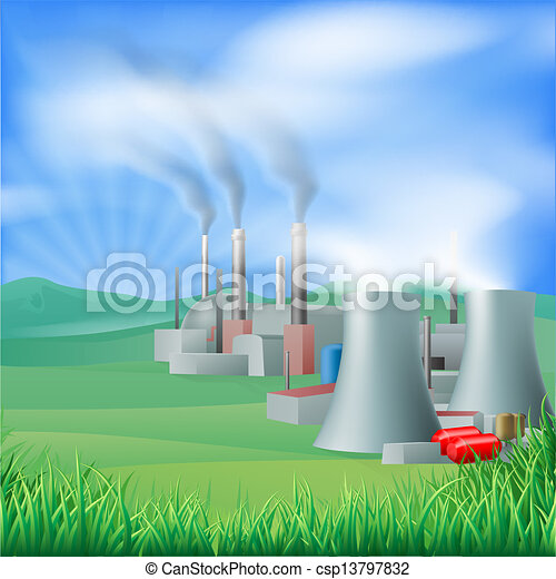 Power plant energy generation illus - csp13797832