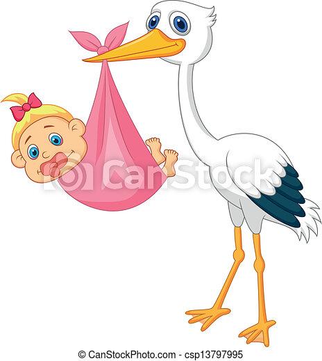 Vettori eps di cicogna bambino ragazza cartone animato - Cartone animato immagini immagini fantasma immagini ...