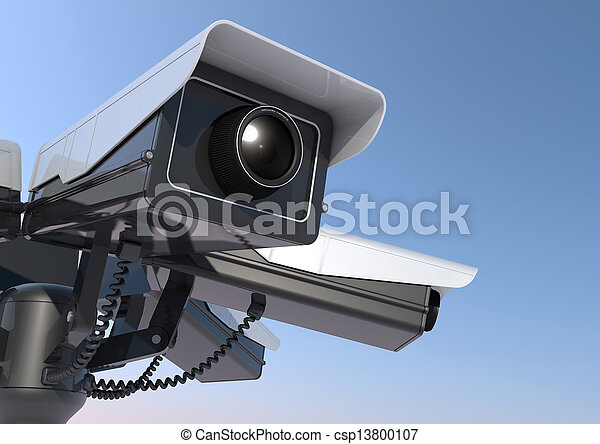 3d render of 6 security cameras on a pole close up - csp13800107