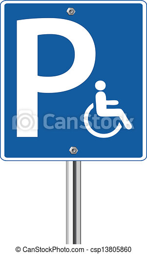 Handicap parking traffic sign - csp13805860