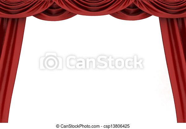 abertos, teatro, cortina vermelha - csp13806425