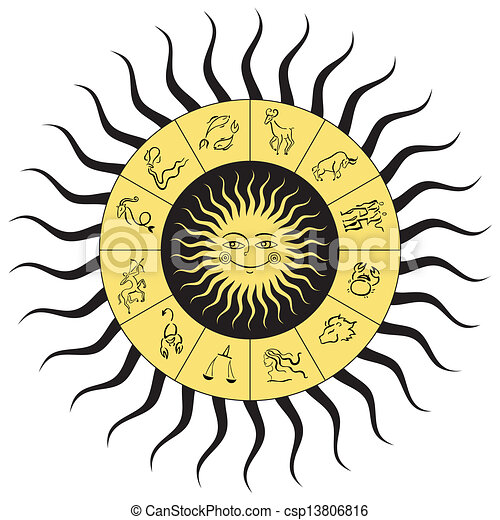 Vector Clip Art of Horoscope circle. Star signs. - Horoscope ...