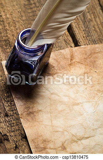 vendimia, carta, con, Sellador, con, Tinteros - csp13810475