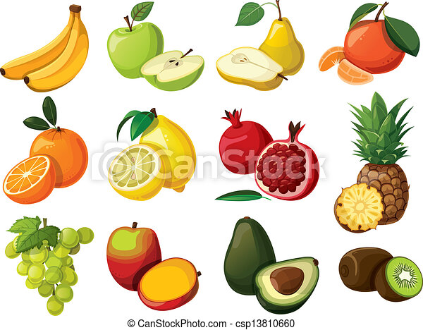 A set of delicious fruit. Isolated  - csp13810660
