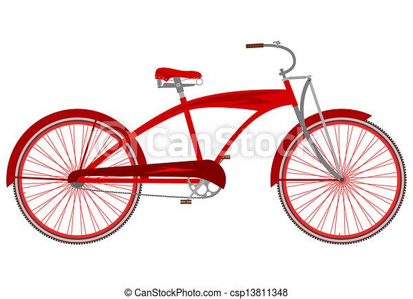 Red Vintage Bike Red Vintage Cruiser Bicycle on