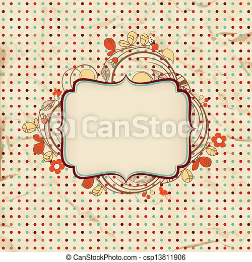 Vintage background with floral frame for text - csp13811906
