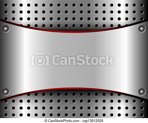 Background with a metal plate and grille - csp13812529