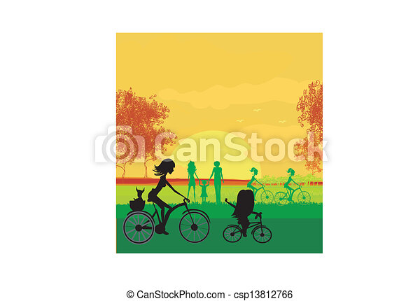 Mother and daughter biking in the park  - csp13812766