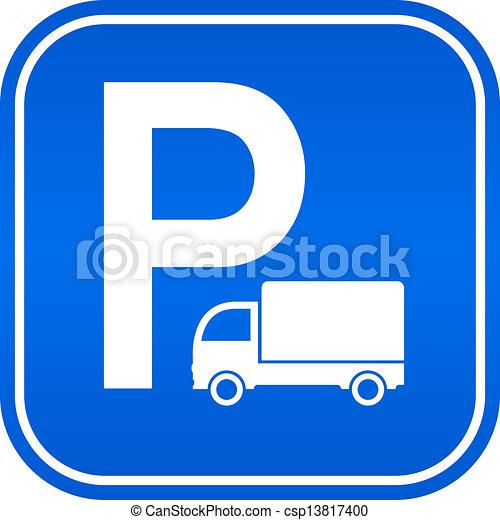 Lorry parking sign - csp13817400