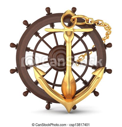 Stock de Ilustration de barco, Timón, dorado, ancla, aislado ...