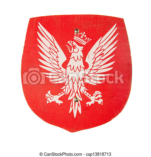 Wooden toy shield with a coat of arms of Poland isolated over white