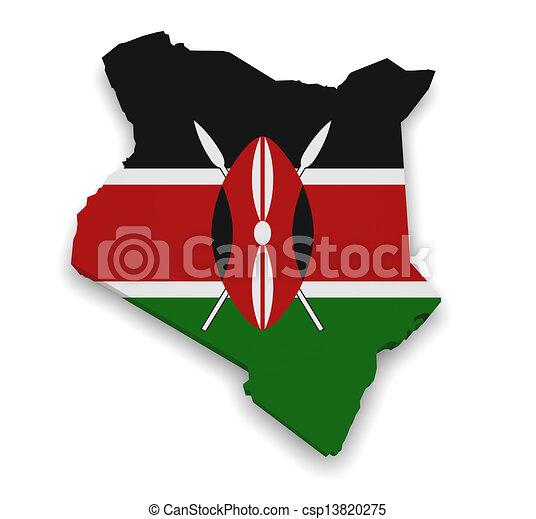 Kenya Map Flag 3d Shape - csp13820275