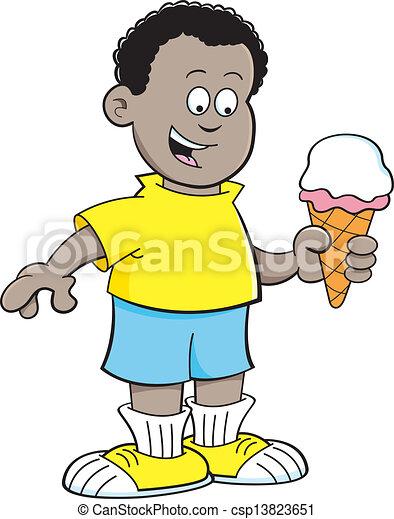 vecteur dessin anim u00e9  africaine  gar u00e7on  manger  glace Une Glace De Vanille Une Crepe