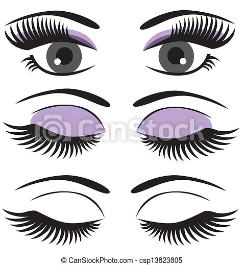 Vector Clipart of eyes - vector eyes with make-up ...
