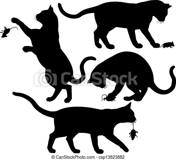 Vector of Cat and mouse - Four editable vector silhouettes of a ...