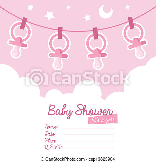 Pink Baby Shower Invitation with Pa - csp13823904