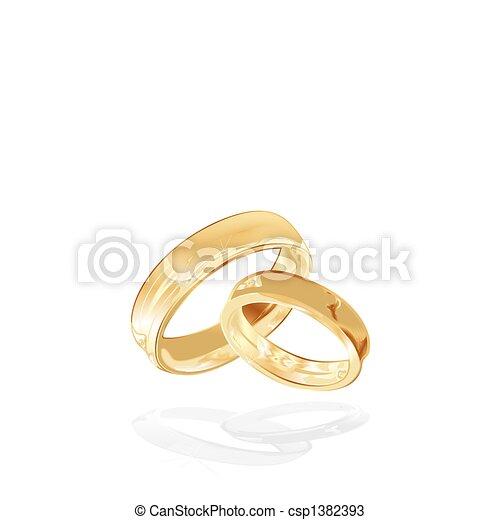 Vecteurs de Anneaux, isolé, or, mariage - or, mariage, Anneaux ...