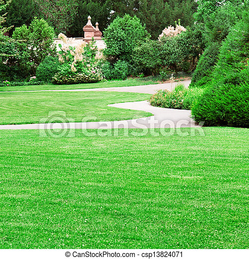 summer park with beautiful green lawns - csp13824071