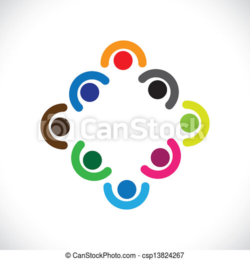 Kids playing or executives, employees team meeting-vector graphic. The illustration can represent children in huddling together & playing or corporate team get-together or people diversity & unity - csp13824267