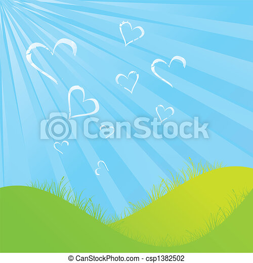 Cloudy Heart shapes - csp1382502