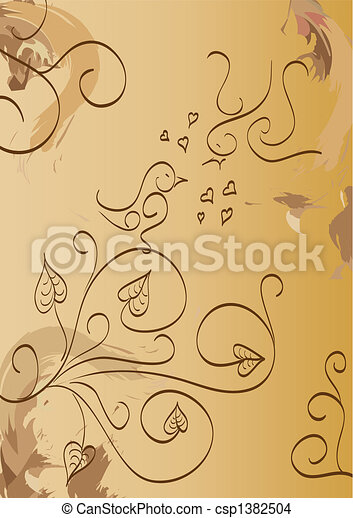 Love birds floral foliage - csp1382504