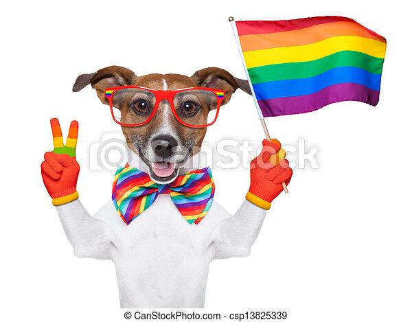 Drawings of gay pride dog waving a rainbow flag ...