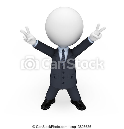 3d white people as business man - csp13825636